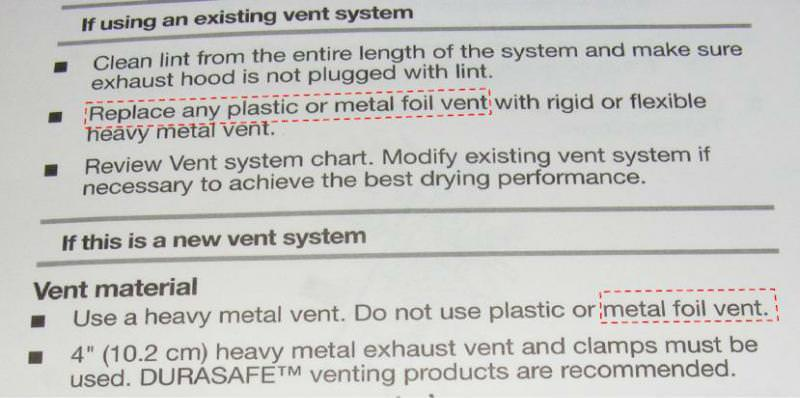 Don't use foil type vent pipe on dryers