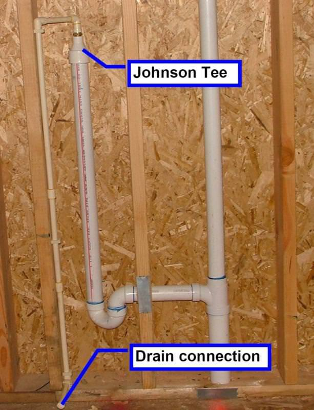 Rough-in plumbing for a Johnson Tee air gap device