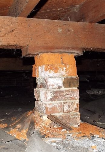 disintegrating brick column