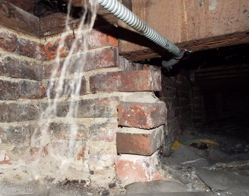 Unsupported beam and collapsed brick