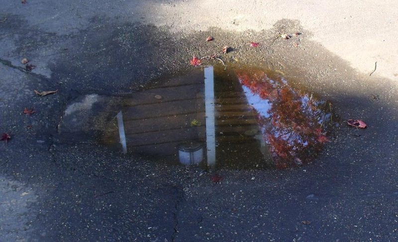 flooded driveway drain