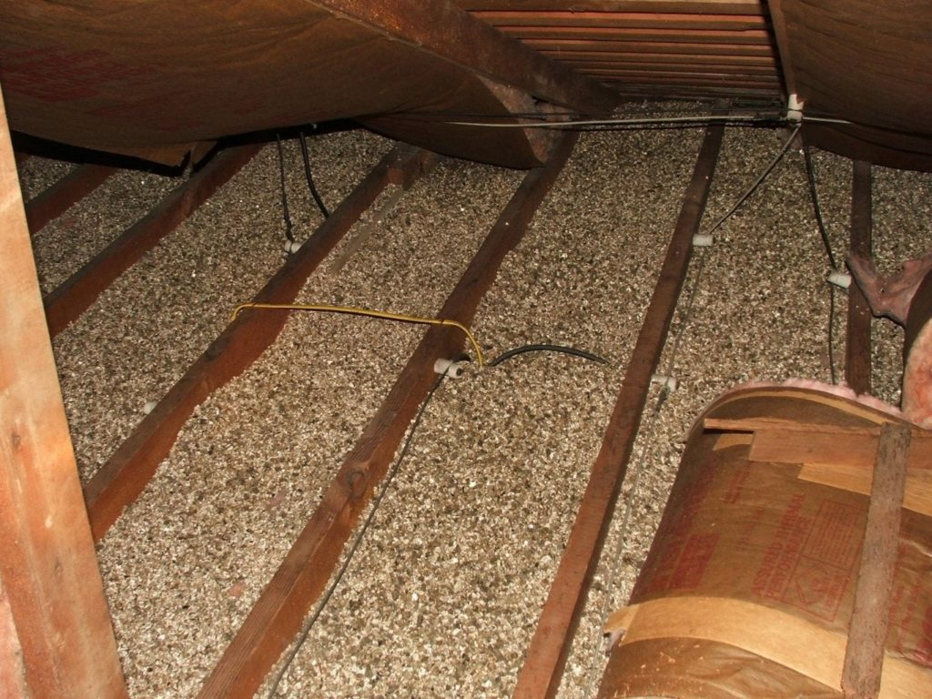 Typical vermiculite installation in an attic