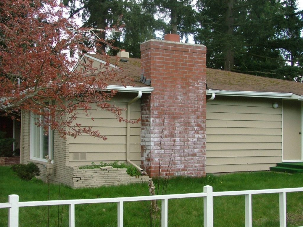 Efflorescence on face of chimney