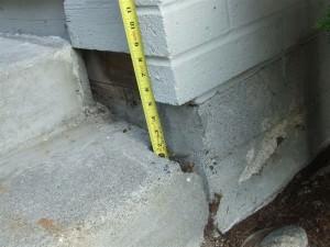 Severe settlement of front stoop