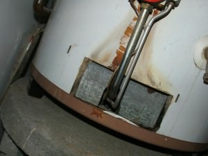 Severe backdrafting at a water heater