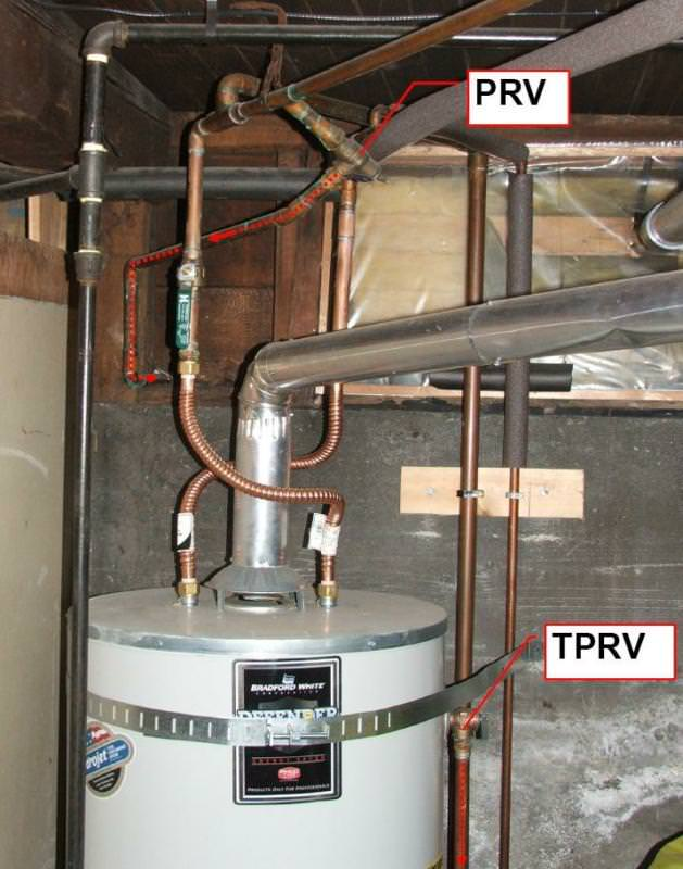 Water heater with a TPRV and a PRV
