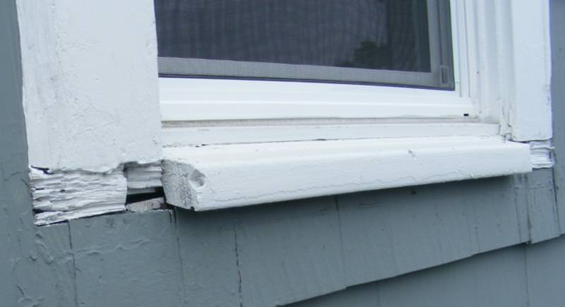 Sills cut away to install siding