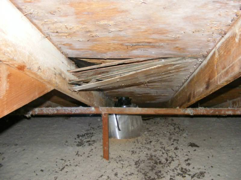 Deterioration in attic from improper termination of vents
