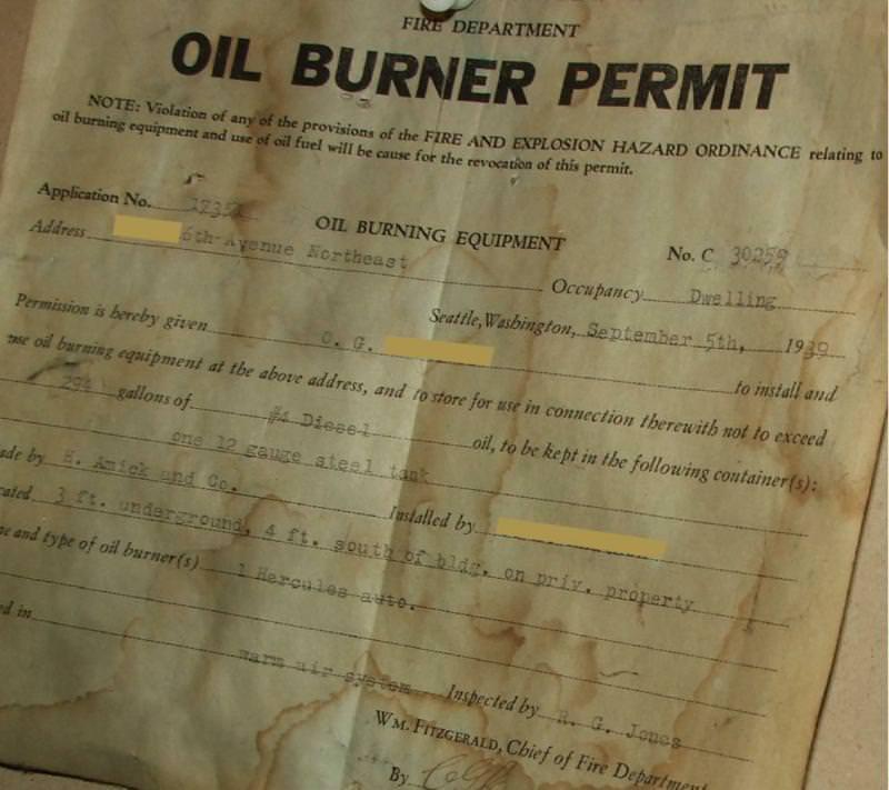 1939 Oil Burner Permit