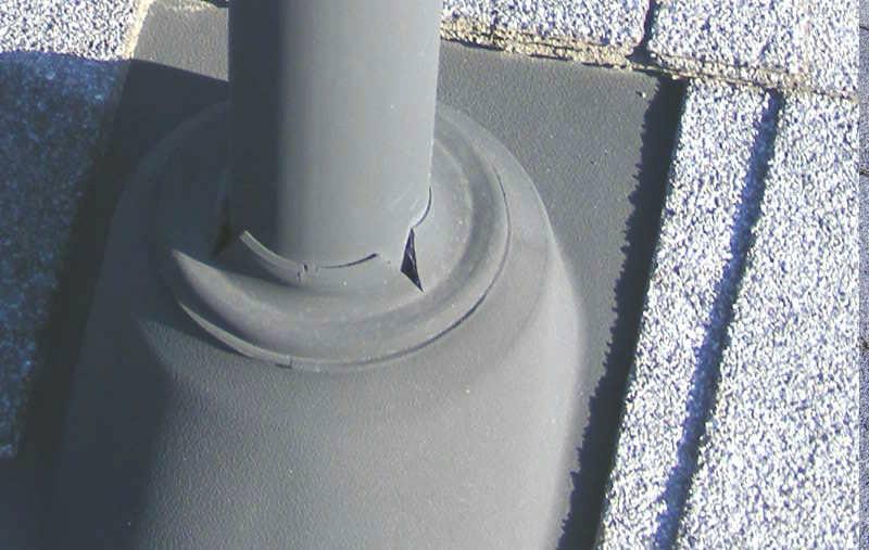 Splits in rubber boot flashings