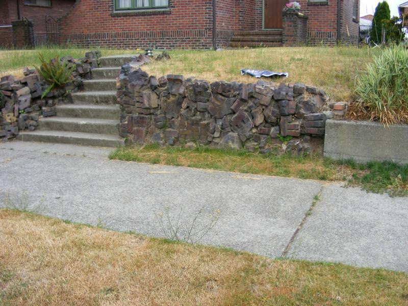 Brick Rubble Retaining Wall