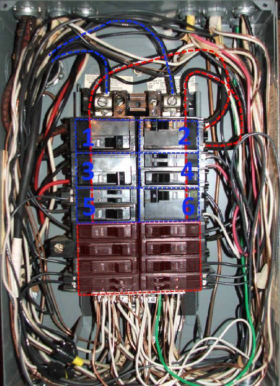 wiring a 120 fuse box testing a car fuse box split bus electrical panels-no main breaker. - charles buell inspections inc.