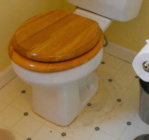 Staining of vinyl around a toilet