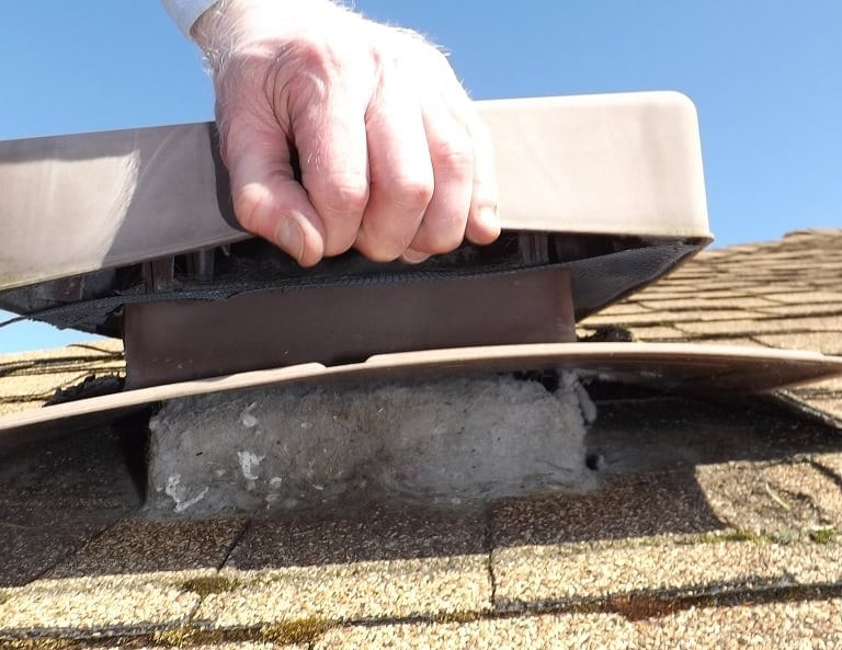 Dryer lint clogged roof vent