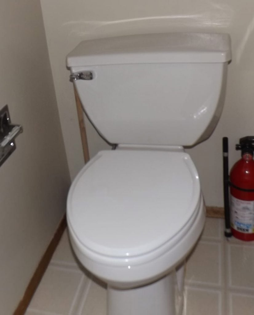 Typical toilet with a Flushmate system