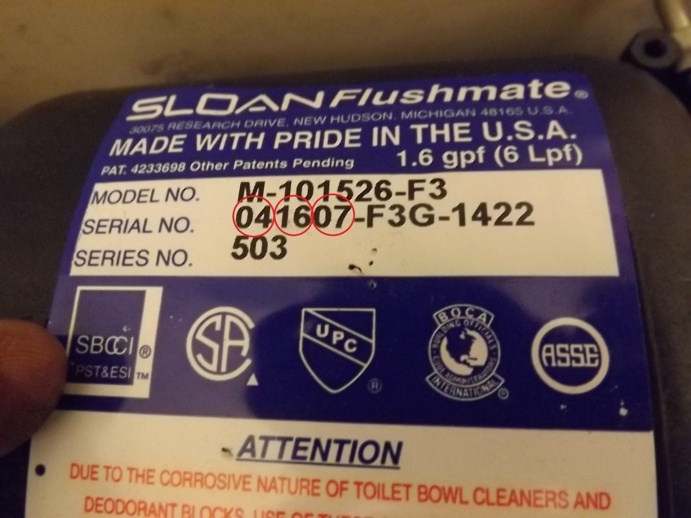 Date code for the Flushmate recall