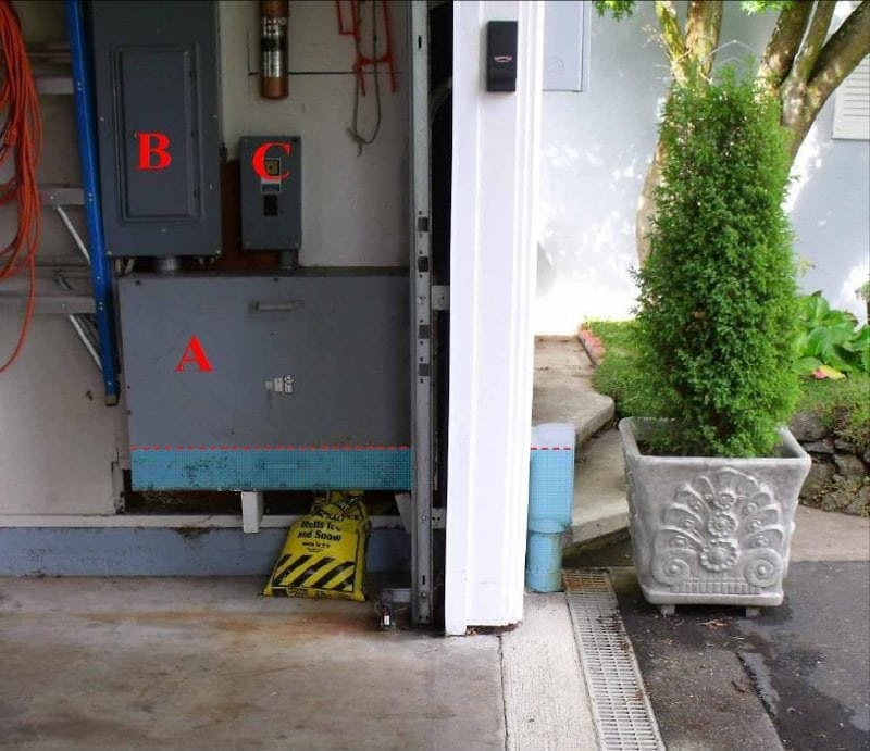 Overlay of water access to the electrical equipment
